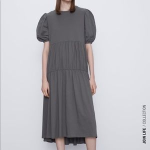Zara cotton dress with ruching